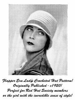 Flapper Ladys Crochet Crocheted Cloche Hat Pattern 1935