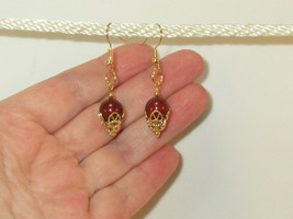 made w Swarovski Burgundy Crystal Pearl Elements w Gold Accent Earrings HM - $11.88