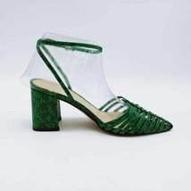 Marc Fisher Womens Carmela 2 Sandals Green Snakeskin Block Heels Buckle 6 W - $23.71