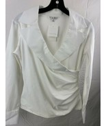 Cabi White Cross Over Blouse Shirt Women's Top Size M New NWT - $24.74