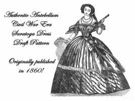 Antebellum Civil War Era Dress Gown Draft Pattern 1860 - $5.99