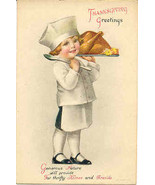 Thanksgiving Greetings, Artist Ellen Clapsaddle, Vintage Post Card  - $7.00