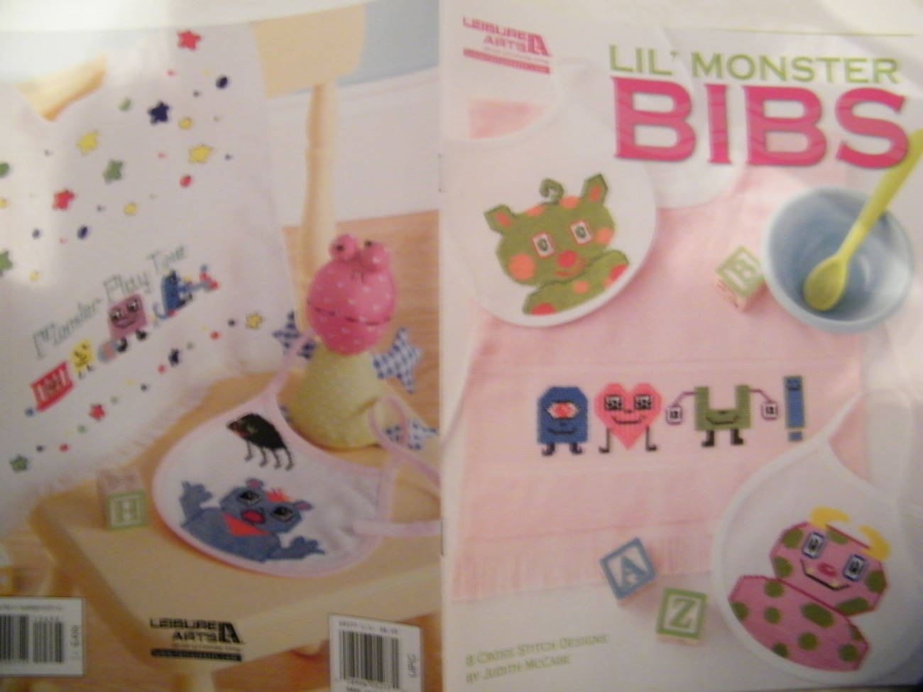 Lil' Monster Baby Bibs Cross Stitch Book NEW ADORABLE