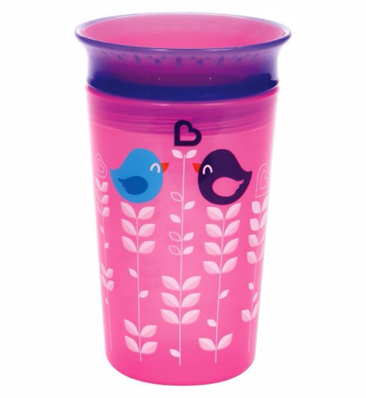 Munchkin 9oz Miracle 360° Deco Sippy Cup Pink Bird