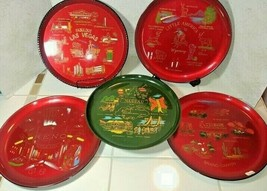 1950's Travel Souvenir Tray lot Red Lacquer Las Vegas Reno Arizona etc - $21.73