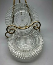 """4 Anchor Hocking QUEEN MARY Vertical Ribbed Crystal Rimmed Small Saucer Plate 6"""" - $24.99"""