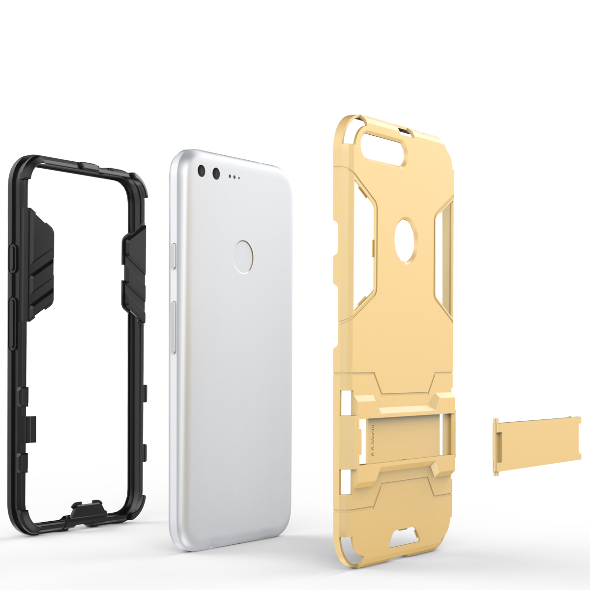 Kickstand Tough Dual Layer Protective Case For Google Pixel 5.0inch - Gold