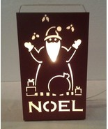 "Indoor/Outdoor 12"" tall red metal Noel electric light up ""SANTA LUMINARY... - $9.89"