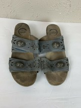 Abeo Bio System Blue Leather Poppy Women's Slides Sandals Size 11 M - $22.40
