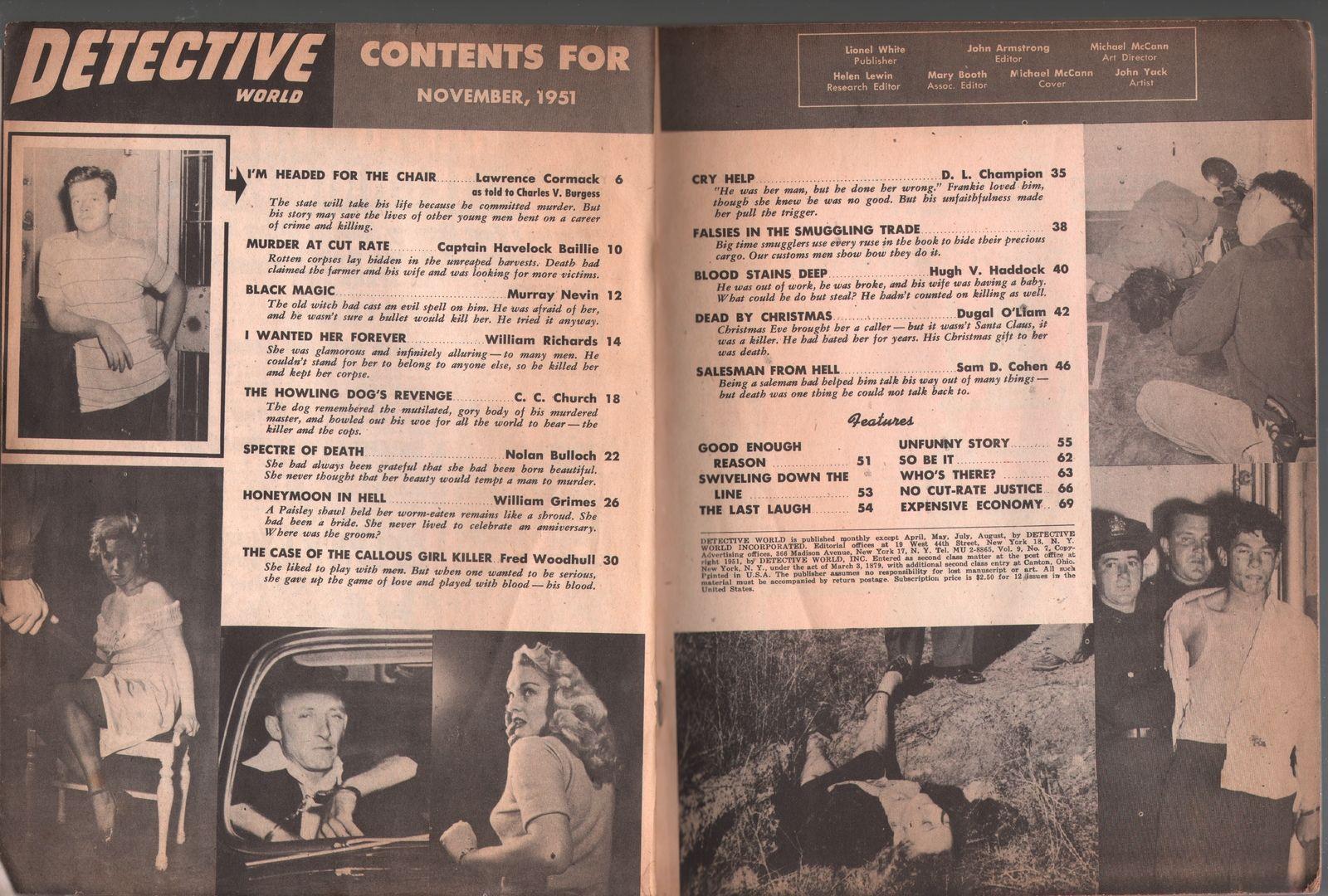 Detective World 11/1951--pulp thrills-electric chair-murder-DL Champion-G