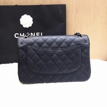 AUTHENTIC NEW CHANEL BLACK CAVIAR QUILTED JUMBO DOUBLE FLAP BAG SILVER HARDWARE image 4