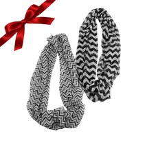 2pk Black/Gray and White Sheer Infinity Scarves Set Shawls Wraps Christm... - $7.24