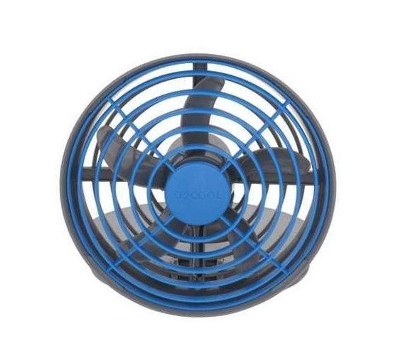 USB Powered Fan  Blue Grey with USB Plug Use With AC/DC/Powerbank