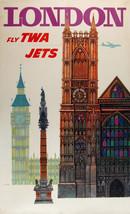 Vintage David Klein TWA Poster London England Mid Century Modern  - $64.33
