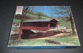 Milton Bradley York Vintage 1500 Series Jigsaw Puzzle 12 Old Covered Bri... - $24.74