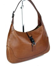 Auth Gucci Brown Leather Silver Piston Lock Hobo One Shoulder Bag Purse ... - $157.41