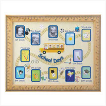1-12 school days 15 x 12in wood glass wall display multi photo picture frame - $15.00