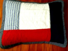 2 Pottery Barn Sean Quilted Shams Standard Pillow 20x26 Red White Blue Patch NIP - $39.49