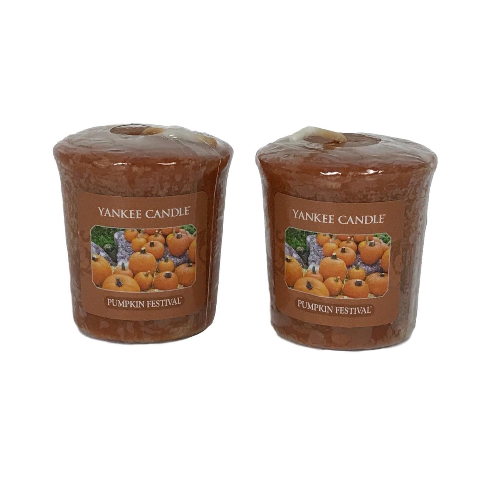 Yankee Candle Pumpkin Festival Lot of 2 Votives Wrapped Fall Scent