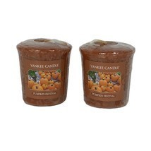 Yankee Candle Pumpkin Festival Lot of 2 Votives Wrapped Fall Scent  - $9.89