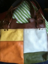 LUCKY vintage inspired PATCHWORK QUILT style LEATHER BAG fully lined RARE lk new - $99.99