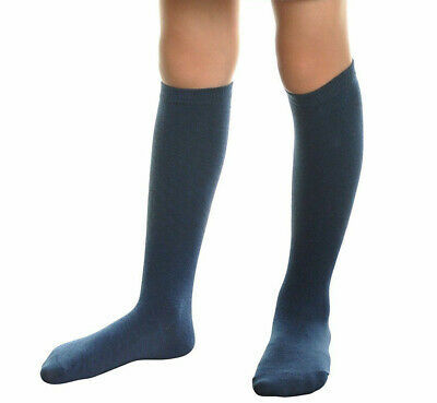 Premium 11 Pair Girls Cotton Socks for Youth Solid Navy Kids Knee High Small