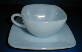 2 FIRE KING CHARM AZURITE CUP SAUCERS BLUE SQUARE ANCHOR HOCKING VINTAGE... - $14.30