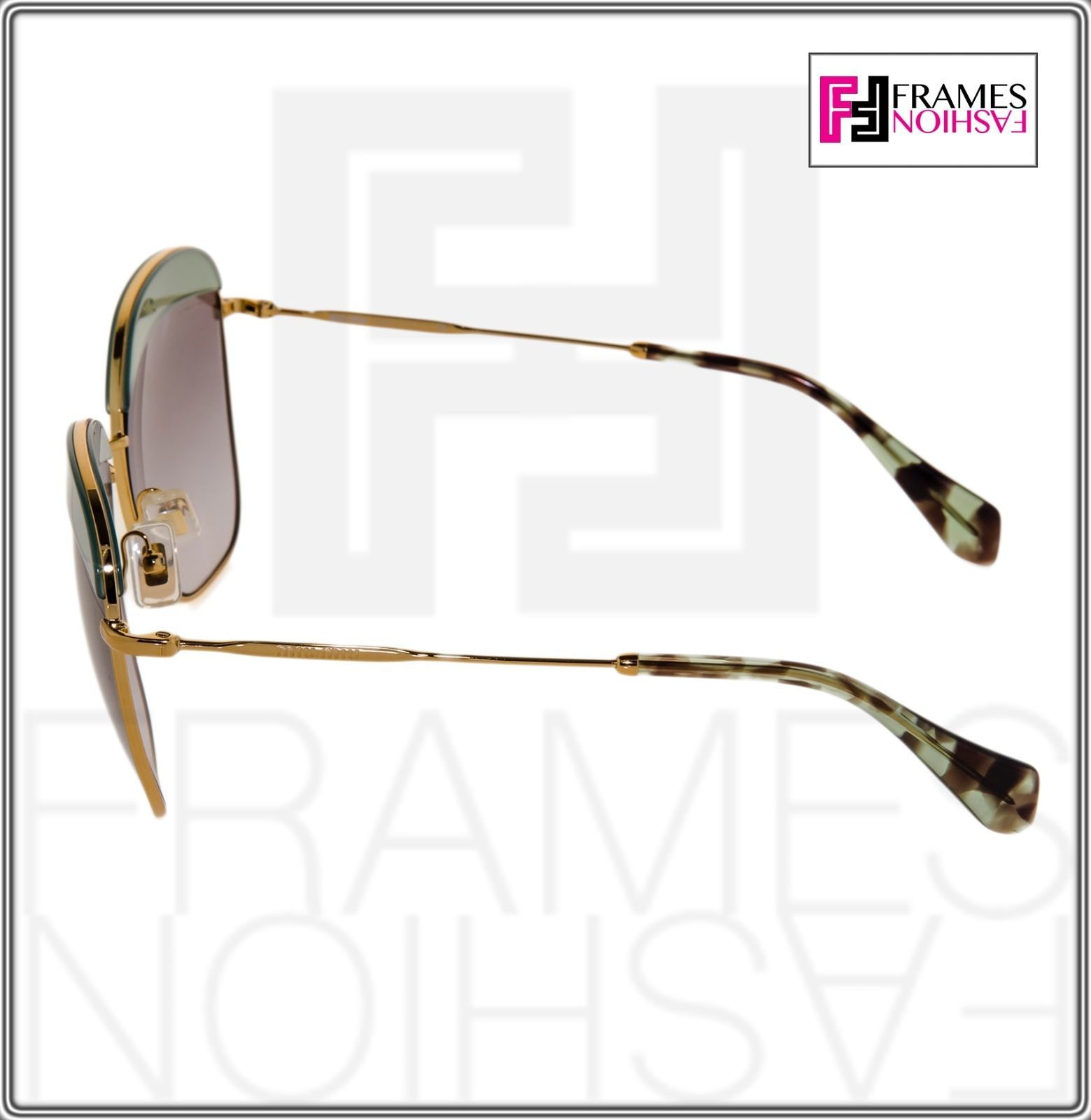 MIU MIU NOIR 53Q Square Gold Opal Green Gradient Sunglasses MU53QS