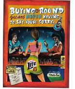 Miller Beer Ad Buying A Round Means Never Having To Say You're Sorry Nea... - $3.49