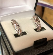 VTG X's/Diamond Shapes Rhodium Plated Leverback Pierced Hoop Earrings/Gift Case image 2
