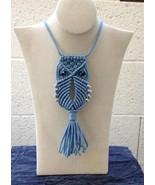 Macrame Owl Necklace (blue) - $14.95