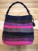 Nine West Tote Purse Shoulder Handbag Faux Suede Multicolor Stripe Braid... - $27.77