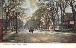 Lafayette Street Scene Salem Massachusetts 1910c postcard - $7.43