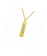 Personalized Vertical Bar Pendant Stainless Steel Engraved Name Necklace - $21.82+