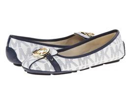 New Michael Kors MK Women's Premium Designer Fulton Moccasin Flats White Navy
