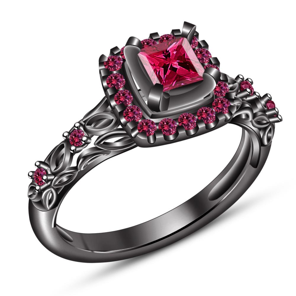 Princess Cut Pink Sapphire Black Gold Plated 925 Silver Bridal Wedding Ring Set