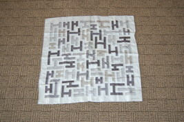 "Hermes Paris H ivory Charcoal Light Brown Small Scarf 24"" - $125.00"