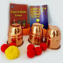 """PRO Magic Cups And Balls COMBO Set w/ Chop Cup COPPER Deluxe 3"""" x 2.5"""" +... - $89.99"""