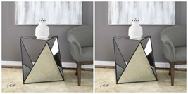 "TWO 27"" MODERN GEOMETRIC PRISM STYLE MIRROR METAL END ACCENT TABLE BEVEL... - $809.60"