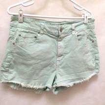 American Eagle 14 Shorts Distressed Green Denim Cut Off Jeans Stretch Fr... - $19.58