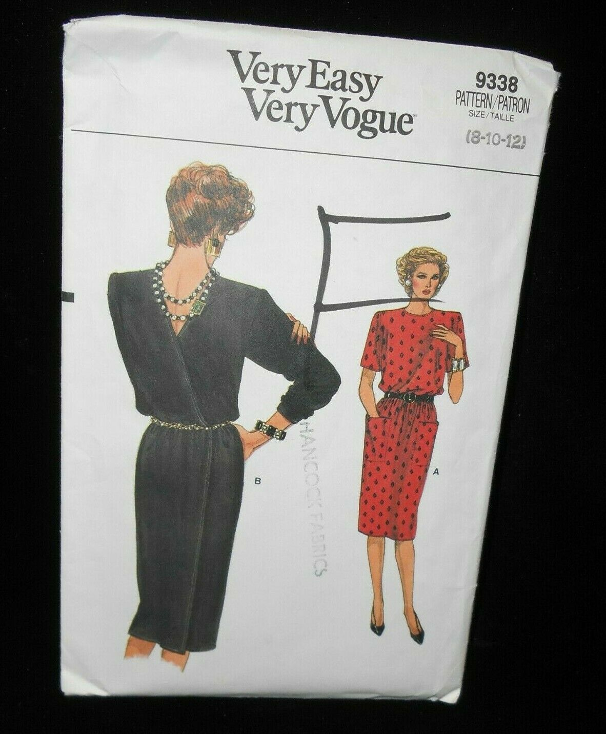 Primary image for Vogue 9338 Misses 8-12 Dress Back Wrap Jewel neckline Straight Low Back Uncut