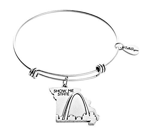 State of Missouri Charm Bangle Bracelet (silver-plated-base)