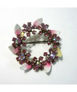 Vintage Austrian Pink Rhinestone Crystals with Enameled Leaves Round Bro... - $9.99