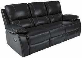 Homelegance Greeley Reclining Sofa Top Grain Leather Match, Black - $949.23