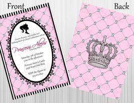 Elegant Princess Birthday Invitation Printable, Custom, Front & Back - $12.00