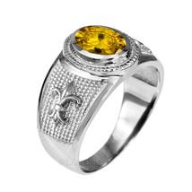 Sterlingsilber LILIE Ehering November Geburtsstein Gelb CZ Ring - $49.98