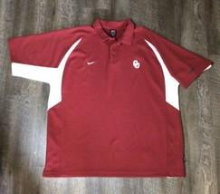 Nike Team OKLAHOMA SOONERS OU Men's XXL Golf Polo Shirt Dri-Fit Red Whit... - $23.70