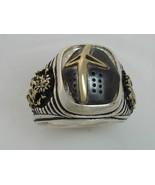 Ivanhoe Black Knight 10 Karat Gold Lions Sterling Silver 925 signet ring - $149.00