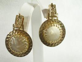 Beige Marbled Cab Gold Tone Earrings Door Knocker CONVERTIBLE Screw On V... - $13.85
