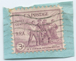 """S5 - 3 Cent N. R. A. """"In a common determination"""" Stamp - $0.99"""